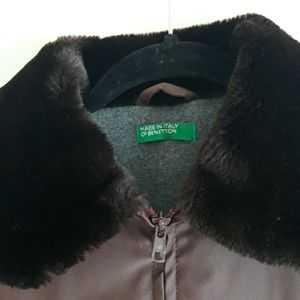 Made In Italy of Benetton Fleece Lined Fur Jacket
